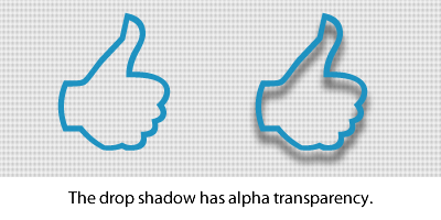 Drop shadow with alpha transparency